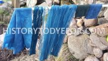 Indigo dyed wool and yarn