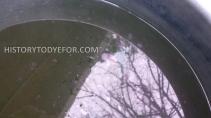 Oily surface of indigo vat dye bath